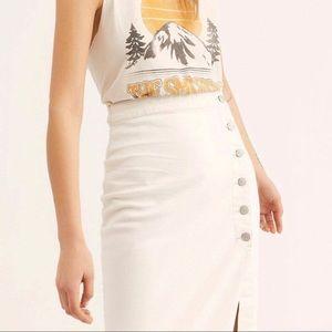 Free People Jasmine Button Midi Skirt